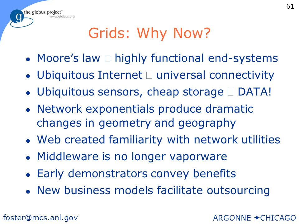 61 foster@mcs.anl.gov ARGONNE CHICAGO Grids: Why Now.