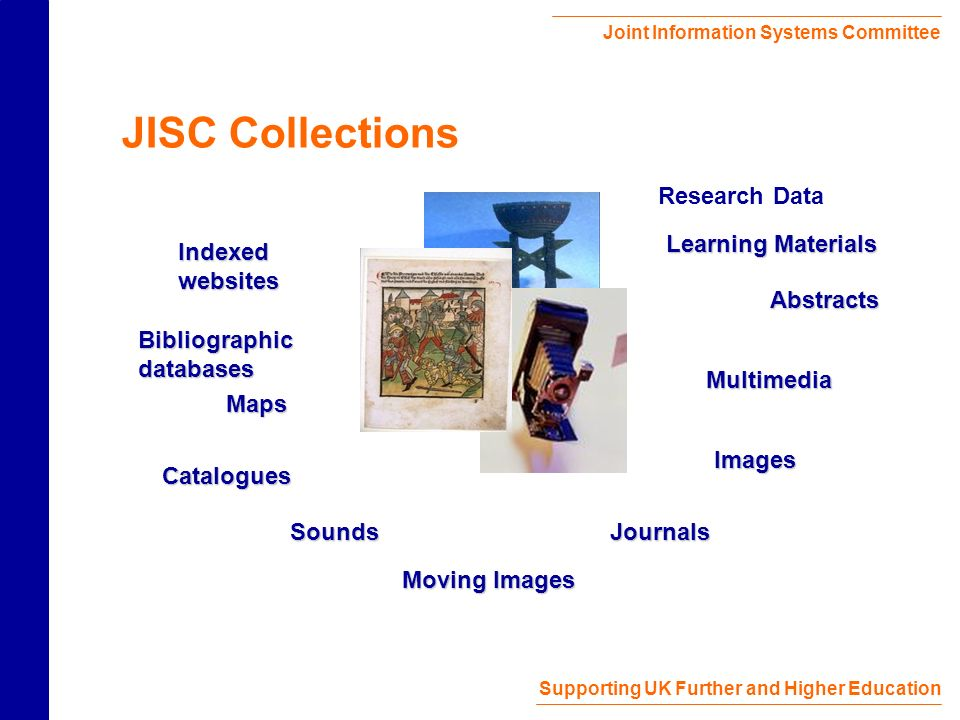 Joint Information Systems Committee Supporting UK Further and Higher Education JISC Collections Multimedia Moving Images Journals Bibliographic databases Sounds Images Indexed websites Maps Abstracts Learning Materials Catalogues Research Data