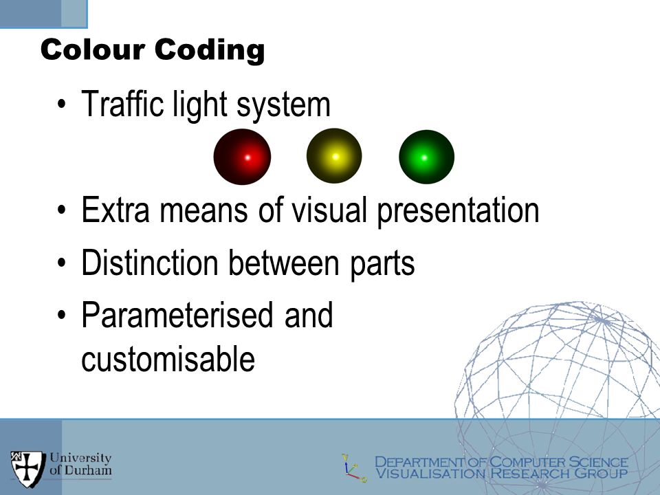 Traffic light system Extra means of visual presentation Distinction between parts Parameterised and customisable Colour Coding