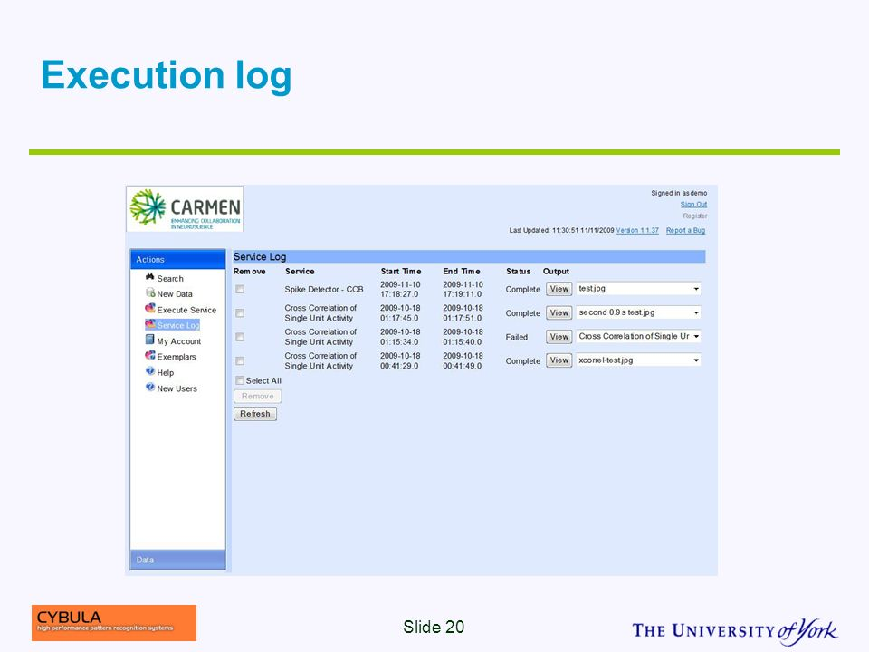 Execution log Slide 20