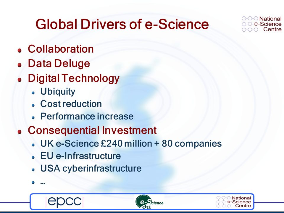 Global Drivers of e-Science Collaboration Data Deluge Digital Technology Ubiquity Cost reduction Performance increase Consequential Investment UK e-Sc