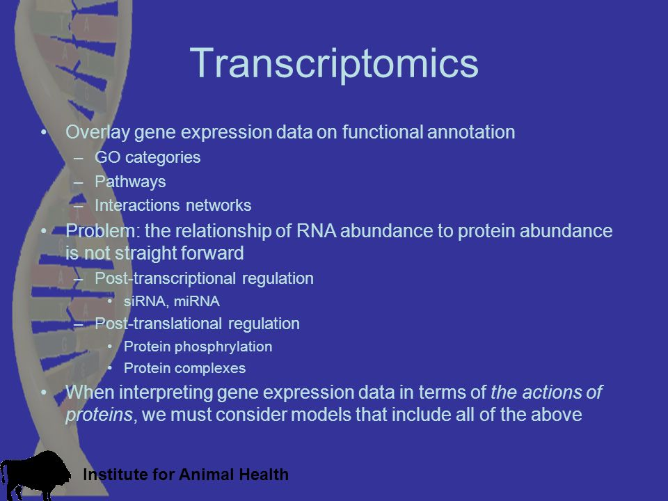 Institute for Animal Health Transcriptomics Overlay gene expression data on functional annotation –GO categories –Pathways –Interactions networks Prob