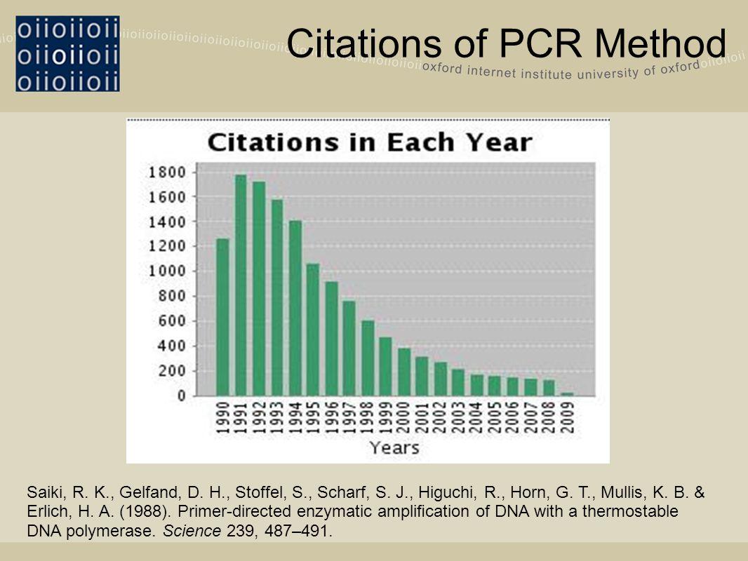 Citations of PCR Method Saiki, R. K., Gelfand, D.