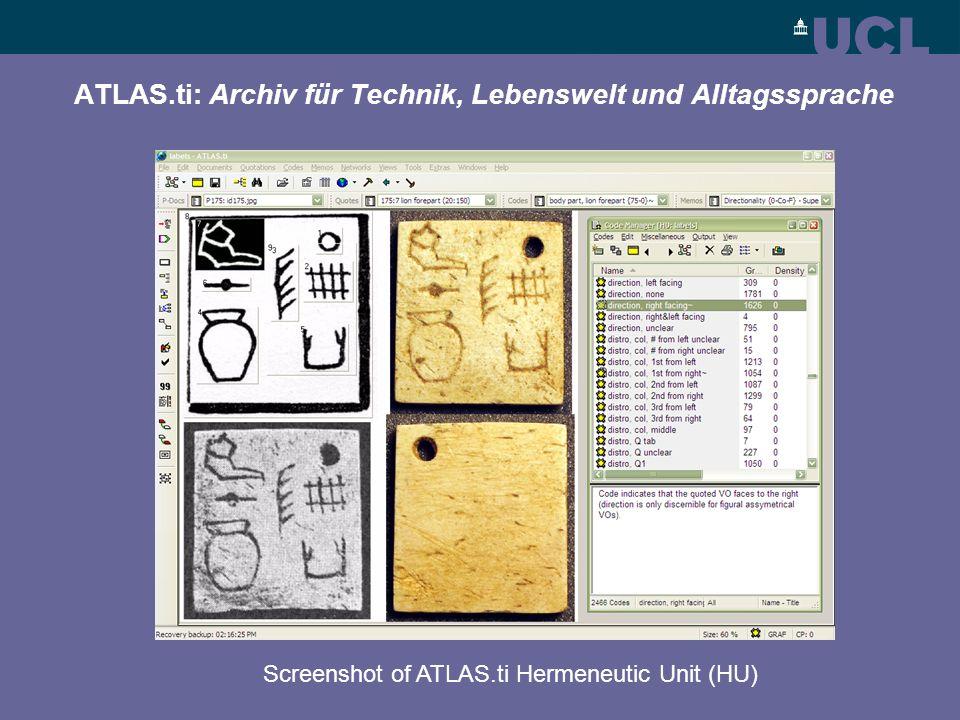 ATLAS.ti: Archiv für Technik, Lebenswelt und Alltagssprache Screenshot of ATLAS.ti Hermeneutic Unit (HU)