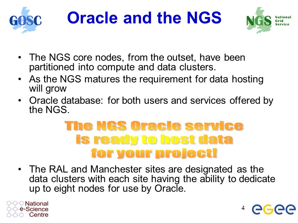 4 Oracle and the NGS The NGS core nodes, from the outset, have been partitioned into compute and data clusters. As the NGS matures the requirement for