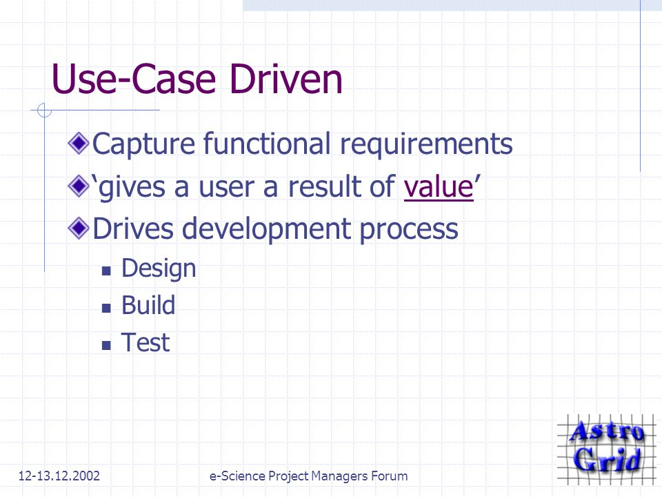 12-13.12.2002e-Science Project Managers Forum Use-Case Driven Capture functional requirements gives a user a result of value Drives development process Design Build Test