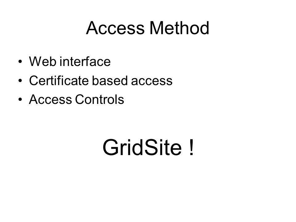 Access Method Web interface Certificate based access Access Controls GridSite !