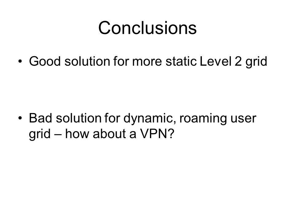 Conclusions Good solution for more static Level 2 grid Bad solution for dynamic, roaming user grid – how about a VPN