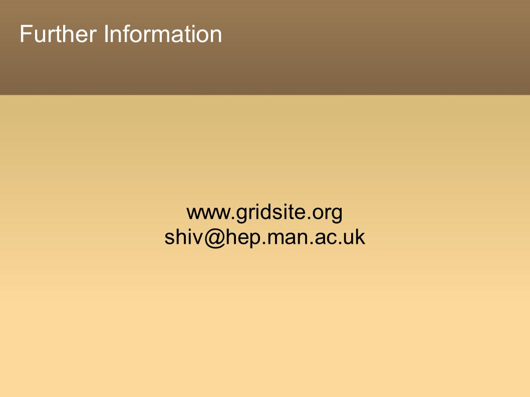 Further Information www.gridsite.org shiv@hep.man.ac.uk