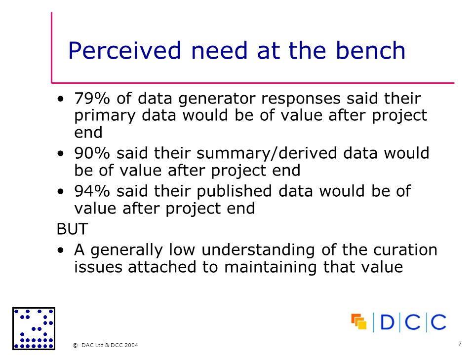 © DAC Ltd & DCC 2004 7 Perceived need at the bench 79% of data generator responses said their primary data would be of value after project end 90% said their summary/derived data would be of value after project end 94% said their published data would be of value after project end BUT A generally low understanding of the curation issues attached to maintaining that value