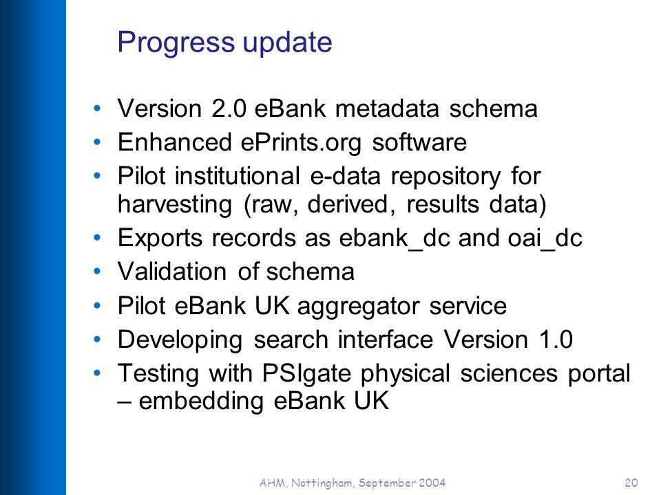 AHM, Nottingham, September 200420 Progress update Version 2.0 eBank metadata schema Enhanced ePrints.org software Pilot institutional e-data repositor