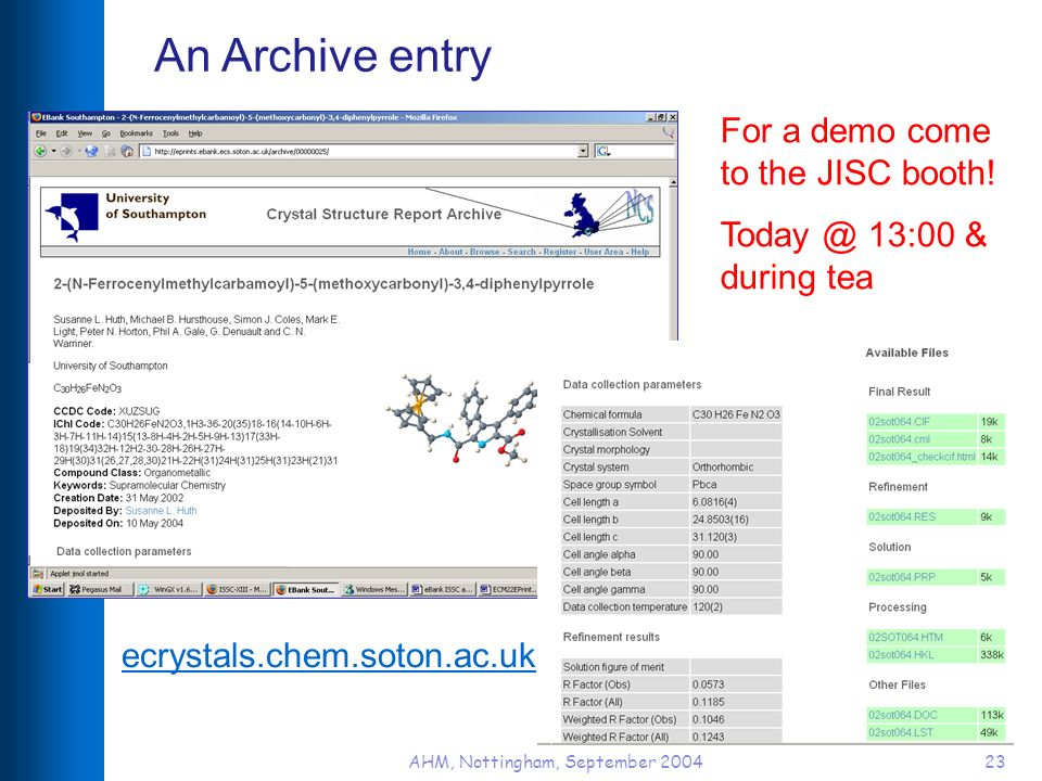 AHM, Nottingham, September 200423 An Archive entry ecrystals.chem.soton.ac.uk For a demo come to the JISC booth.