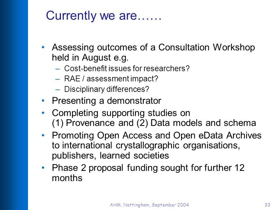 AHM, Nottingham, September 200433 Currently we are…… Assessing outcomes of a Consultation Workshop held in August e.g.