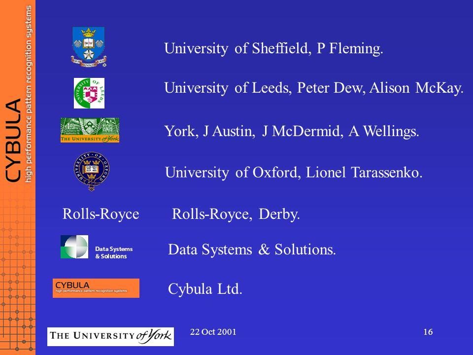 22 Oct 200116 Rolls-Royce University of Oxford, Lionel Tarassenko. University of Leeds, Peter Dew, Alison McKay. York, J Austin, J McDermid, A Welling