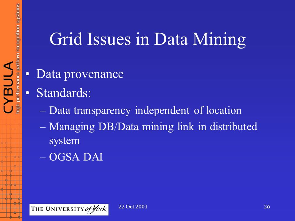 22 Oct 200126 Grid Issues in Data Mining Data provenance Standards: –Data transparency independent of location –Managing DB/Data mining link in distri