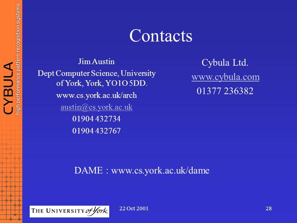 22 Oct 200128 Contacts Jim Austin Dept Computer Science, University of York, York, YO1O 5DD. www.cs.york.ac.uk/arch austin@cs.york.ac.uk 01904 432734