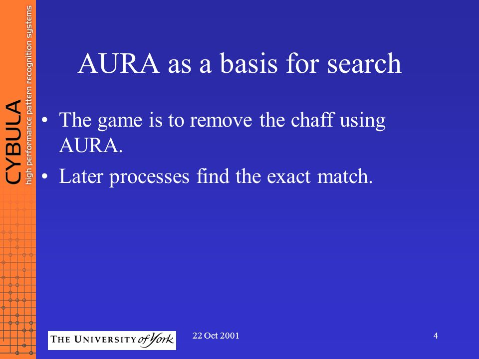 22 Oct 20014 AURA as a basis for search The game is to remove the chaff using AURA. Later processes find the exact match.