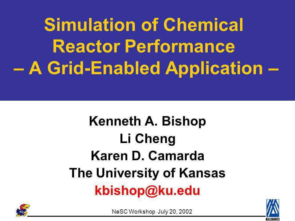 NeSC Workshop July 20, 2002 Presentation Organization Application Background Chemical Reactor Performance Evaluation Grid Assets In Play Hardware Assets Software Assets Contemporary Research NCSA Chemical Engineering Portal Application Cactus Environment Application