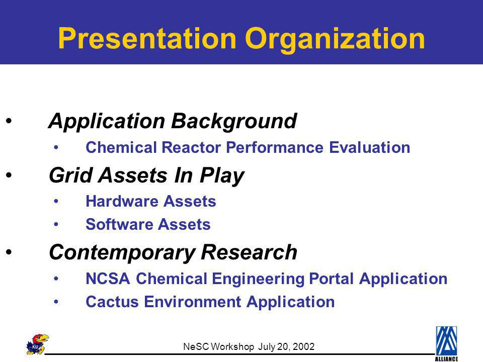 NeSC Workshop July 20, 2002 Chemical Reactor Description V 2 O 5 Catalyst in Tubes Feed Products Coolant Molten Salt Reaction Conditions: Temperature: 640 ~ 770 K Pressure: 2 atm O-Xylene : Air Mixture Phthalic Anhydride