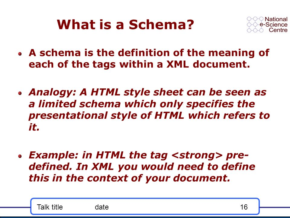 Talk titledate16 What is a Schema.