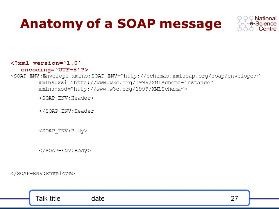 Talk titledate27 Anatomy of a SOAP message <SOAP-ENV:Envelope xmlns:SOAP_ENV=http://schemas.xmlsoap.org/soap/envelope/ xmlns:xsi=http://www.w3c.org/1999/XMLSchema-instance xmlns:xsd=http://www.w3c.org/1999/XMLSchema> </SOAP-ENV:Header