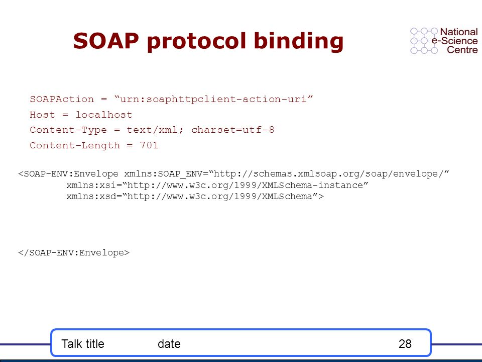 Talk titledate28 SOAP protocol binding SOAPAction = urn:soaphttpclient-action-uri Host = localhost Content-Type = text/xml; charset=utf-8 Content-Length = 701 <SOAP-ENV:Envelope xmlns:SOAP_ENV=http://schemas.xmlsoap.org/soap/envelope/ xmlns:xsi=http://www.w3c.org/1999/XMLSchema-instance xmlns:xsd=http://www.w3c.org/1999/XMLSchema>