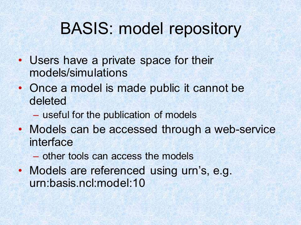 BASIS: model repository Users have a private space for their models/simulations Once a model is made public it cannot be deleted –useful for the publi