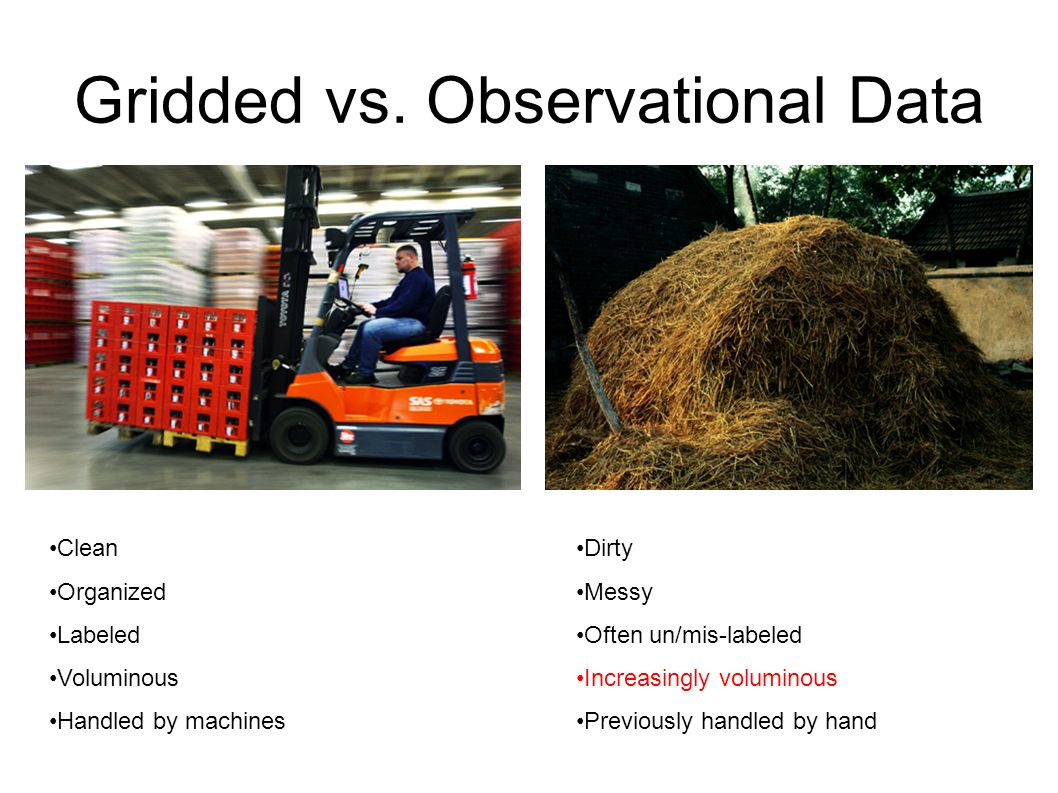 Gridded vs. Observational Data Clean Organized Labeled Voluminous Handled by machines Dirty Messy Often un/mis-labeled Increasingly voluminous Previou