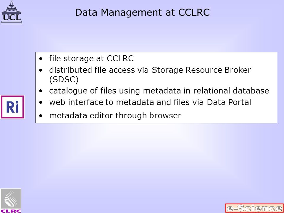 file storage at CCLRC distributed file access via Storage Resource Broker (SDSC) catalogue of files using metadata in relational database web interface to metadata and files via Data Portal metadata editor through browser Data Management at CCLRC