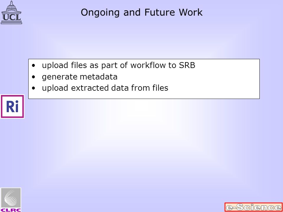 upload files as part of workflow to SRB generate metadata upload extracted data from files Ongoing and Future Work