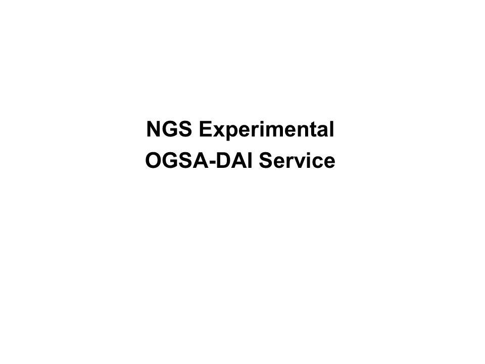 NGS Experimental OGSA-DAI Service