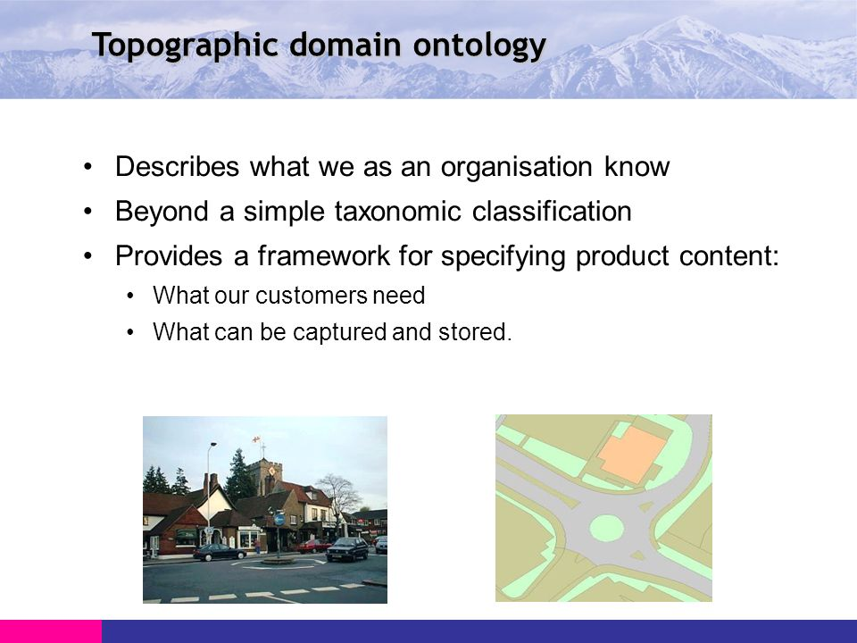Topographic domain ontology Describes what we as an organisation know Beyond a simple taxonomic classification Provides a framework for specifying product content: What our customers need What can be captured and stored.