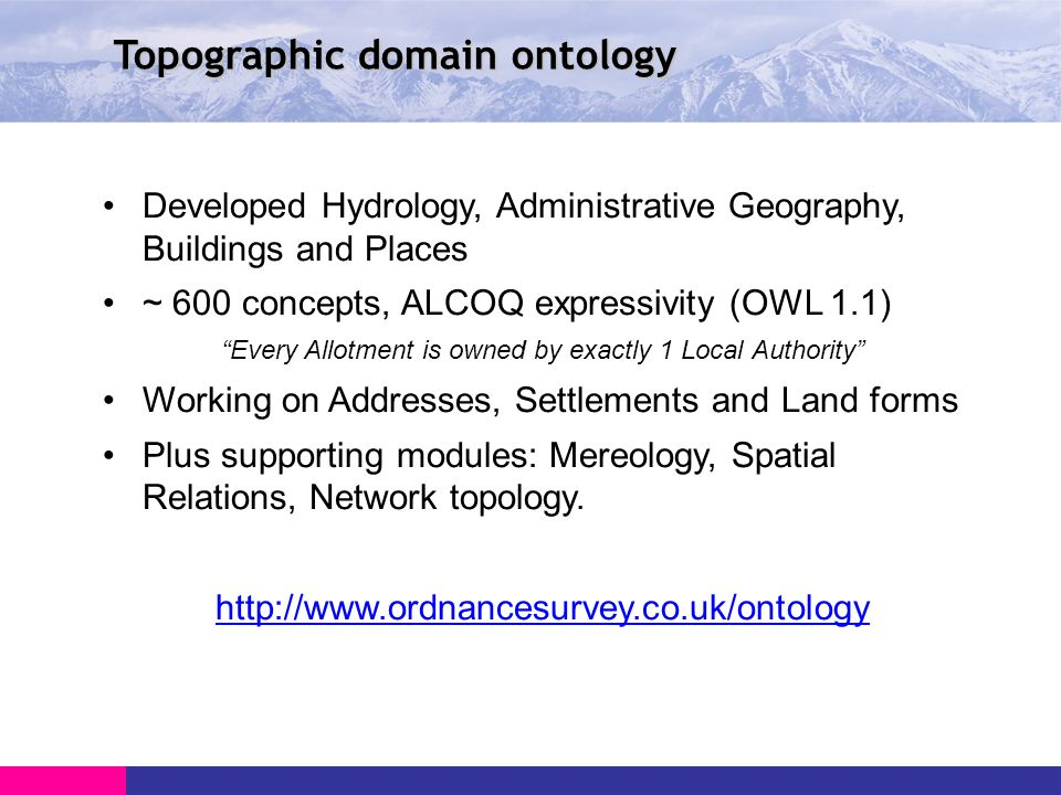 Topographic domain ontology Developed Hydrology, Administrative Geography, Buildings and Places ~ 600 concepts, ALCOQ expressivity (OWL 1.1) Every Allotment is owned by exactly 1 Local Authority Working on Addresses, Settlements and Land forms Plus supporting modules: Mereology, Spatial Relations, Network topology.