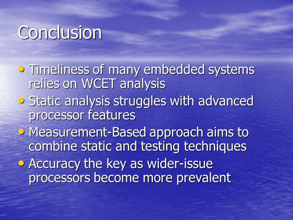 Conclusion Timeliness of many embedded systems relies on WCET analysis Timeliness of many embedded systems relies on WCET analysis Static analysis str