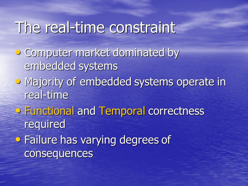 The real-time constraint Computer market dominated by embedded systems Computer market dominated by embedded systems Majority of embedded systems operate in real-time Majority of embedded systems operate in real-time Functional and Temporal correctness required Functional and Temporal correctness required Failure has varying degrees of consequences Failure has varying degrees of consequences