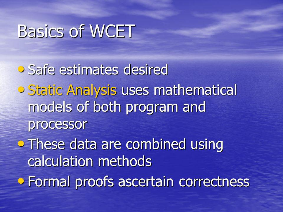 Basics of WCET Safe estimates desired Safe estimates desired Static Analysis uses mathematical models of both program and processor Static Analysis us