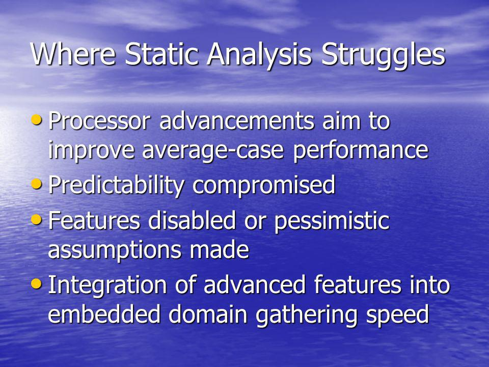 Where Static Analysis Struggles Processor advancements aim to improve average-case performance Processor advancements aim to improve average-case performance Predictability compromised Predictability compromised Features disabled or pessimistic assumptions made Features disabled or pessimistic assumptions made Integration of advanced features into embedded domain gathering speed Integration of advanced features into embedded domain gathering speed