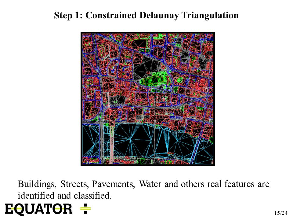 15/24 Step 1: Constrained Delaunay Triangulation Buildings, Streets, Pavements, Water and others real features are identified and classified.