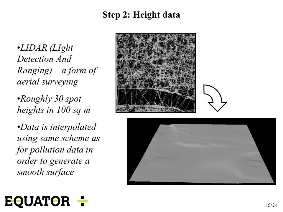 16/24 Step 2: Height data LIDAR (LIght Detection And Ranging) – a form of aerial surveying Roughly 30 spot heights in 100 sq m Data is interpolated us