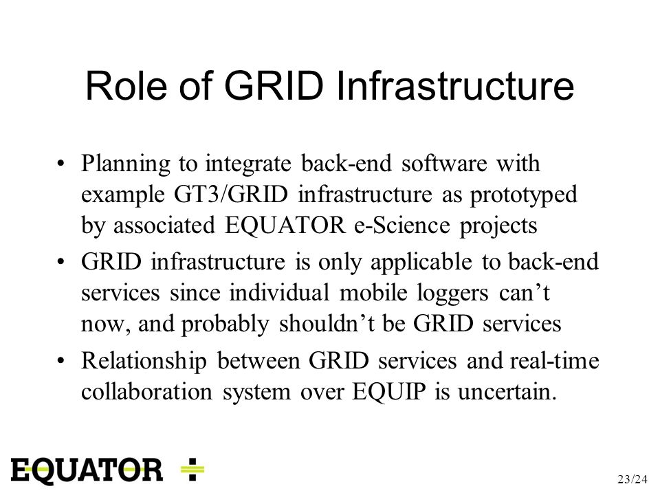 23/24 Role of GRID Infrastructure Planning to integrate back-end software with example GT3/GRID infrastructure as prototyped by associated EQUATOR e-S