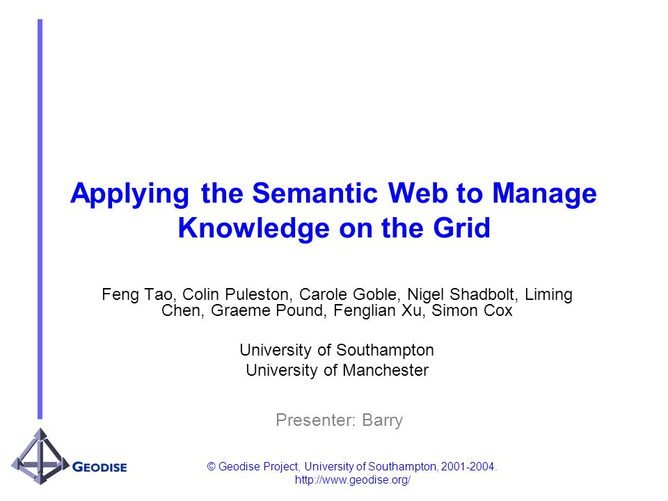© Geodise Project, University of Southampton, 2001-2004. http://www.geodise.org/ Applying the Semantic Web to Manage Knowledge on the Grid Feng Tao, C