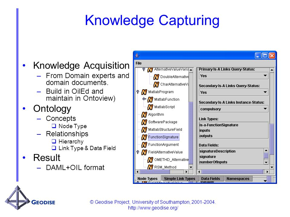© Geodise Project, University of Southampton, 2001-2004. http://www.geodise.org/ Knowledge Capturing Knowledge Acquisition –From Domain experts and do