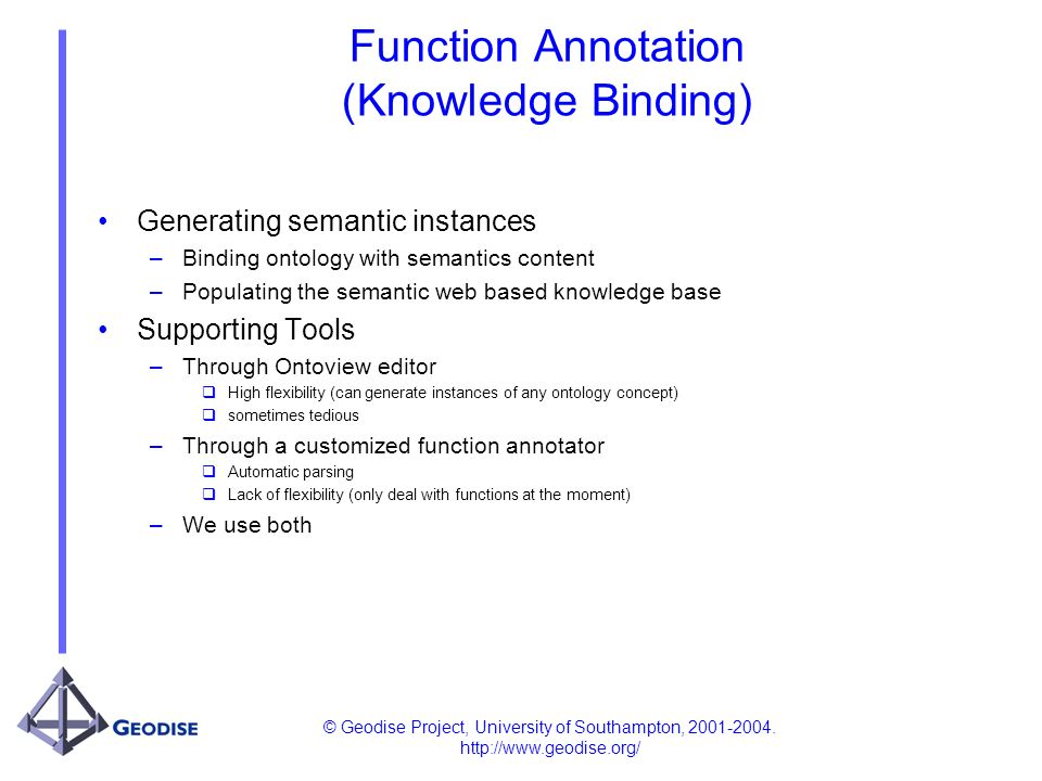 © Geodise Project, University of Southampton, 2001-2004. http://www.geodise.org/ Function Annotation (Knowledge Binding) Generating semantic instances