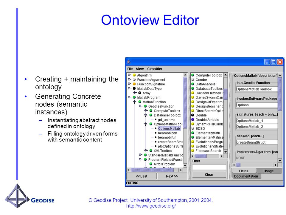© Geodise Project, University of Southampton, 2001-2004. http://www.geodise.org/ Ontoview Editor Creating + maintaining the ontology Generating Concre