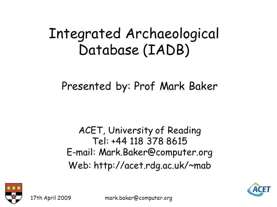 A Search for Finds 17th April 2009mark.baker@computer.org