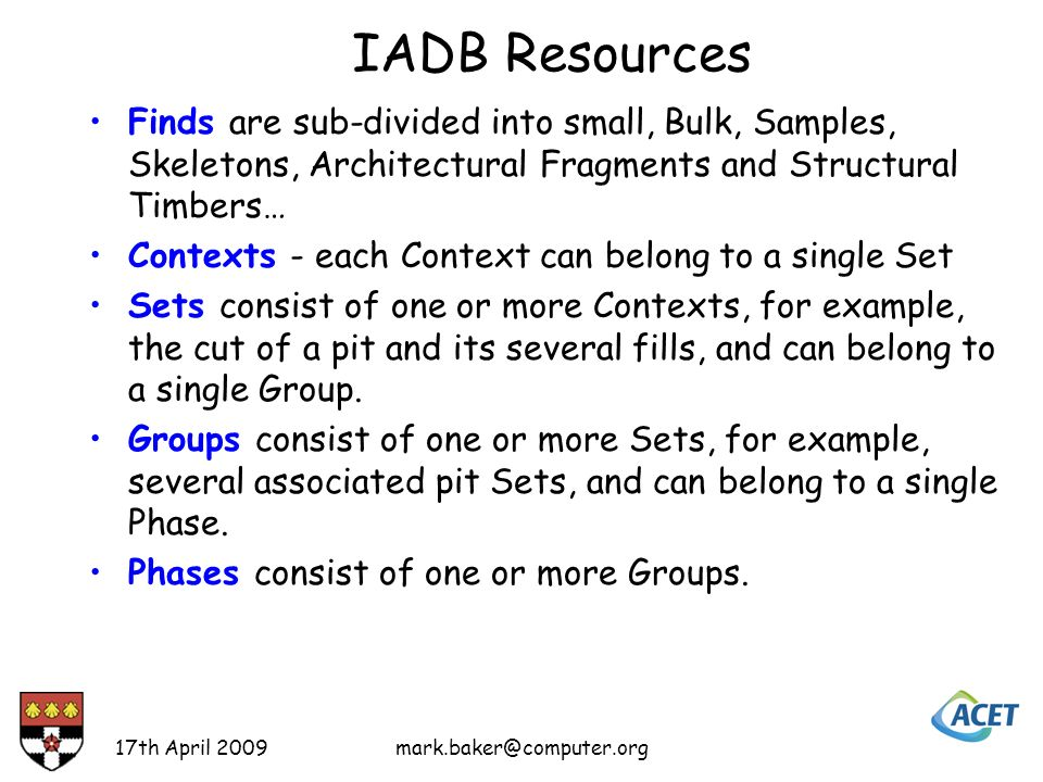 IADB Resources Objects consist of any combination of Finds, Contexts, Sets, Groups, Phases and other Objects.