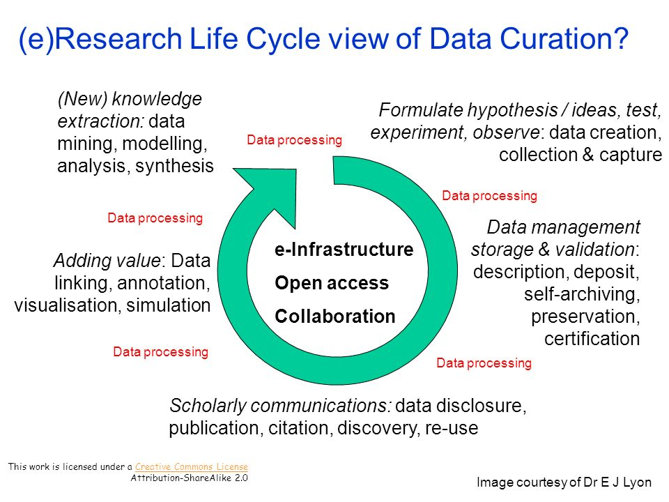 (e)Research Life Cycle view of Data Curation.