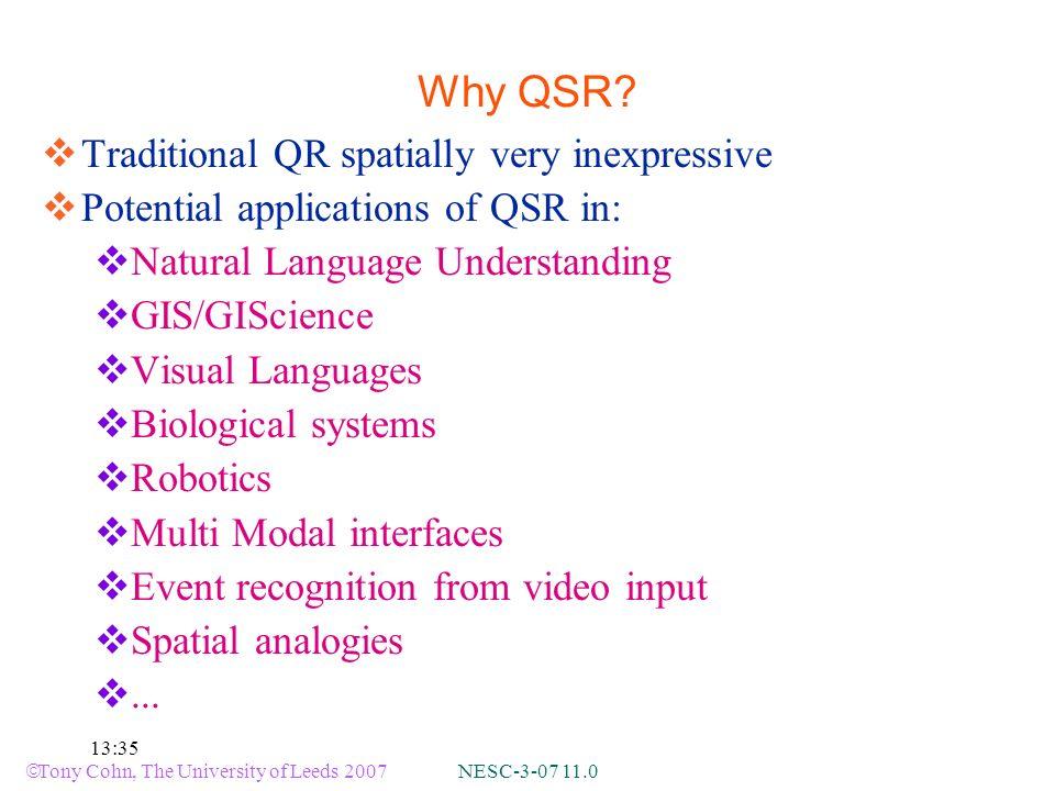 Tony Cohn, The University of Leeds 2007 NESC-3-07 11.0 13:35 Why QSR.