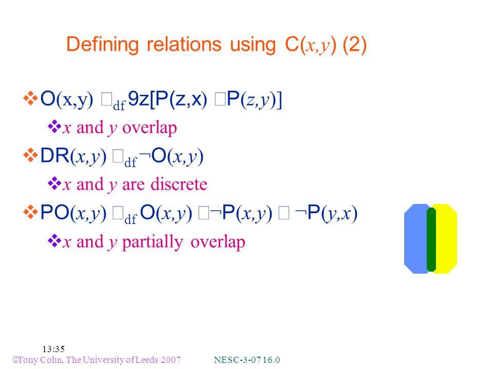 Tony Cohn, The University of Leeds 2007 NESC-3-07 16.0 13:35 Defining relations using C( x,y ) (2) O (x,y) df 9z[P(z,x ) P (z,y)] x and y overlap DR (x,y) df ¬ O (x,y) x and y are discrete PO (x,y) df O (x,y) ¬ P (x,y) ¬ P (y,x) x and y partially overlap