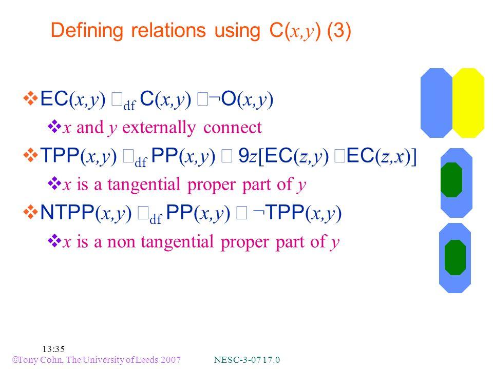 Tony Cohn, The University of Leeds 2007 NESC-3-07 17.0 13:35 Defining relations using C( x,y ) (3) EC (x,y) df C (x,y) ¬ O (x,y) x and y externally connect zzx TPP (x,y) df PP (x,y) 9 z[ EC (z,y) EC (z,x)] x is a tangential proper part of y NTPP (x,y) df PP (x,y) ¬ TPP (x,y) x is a non tangential proper part of y